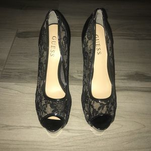 Guess Black Lace Heels
